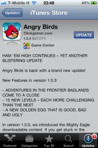 Angry Birds frissítés